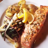 Baked Salmon with Sauteed Ramps and Creamer Potatoes